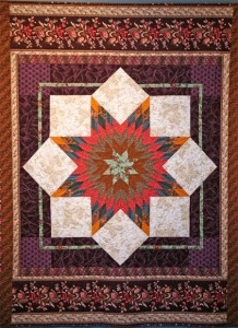 """""""Richmond, 1898"""" reproduces the quilt I imagined my maternal grandmother and her older sisters were working on in Richmond where they all lived. I used reproduction fabrics common to that time period. size: 61"""" x76"""" Made in 2003."""