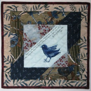 """Hope"" was inspired by the bird stamp carved by my friend Lila Rostenberg and printed in indigo. I hand quilted it. Size: 14"" x 14"""