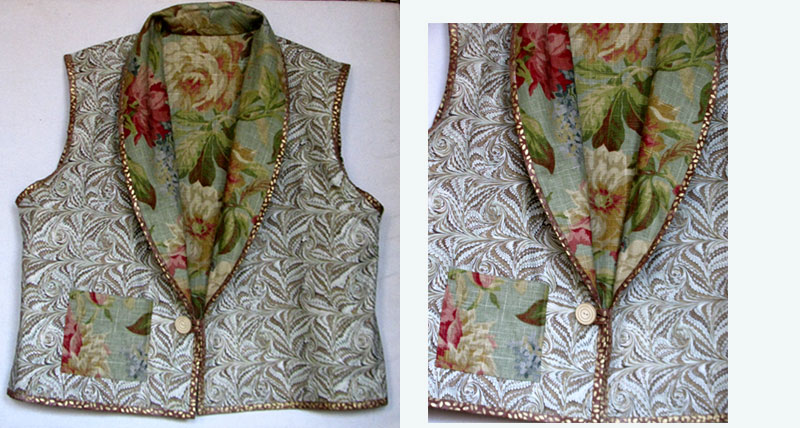This reversible shawl collar vest features a luxurious marbled cotton fabric, a usable pocket (where my label is hidden), and another vintage button.