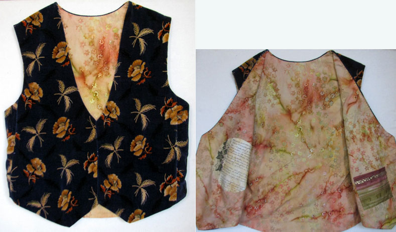 A remnant of vintage drapery velvet is transformed into an elegant vest via some creative stitching and the addition of two dramatic fabrics.
