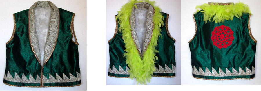 My vest creation of green lame fabric before embellishment, then i added the  lime feathers and  a red crochet doily on the back--all recycled objects.