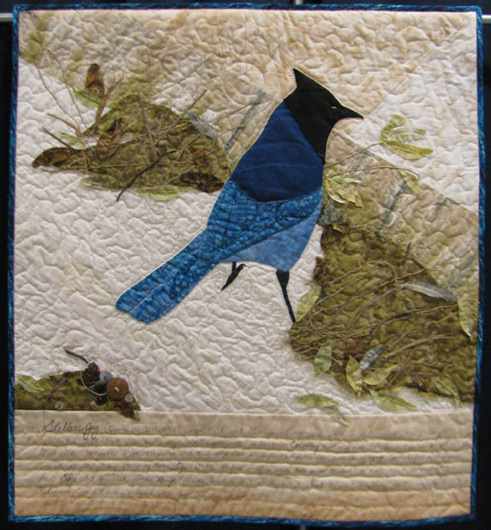 "This is the photo of the quilt I did for our quilt guild challenge as it hung at the 2015 quilt show. I named it ""Colorado Jay"". I found many adventures and challenges in designing and in sewing this fun quilt."