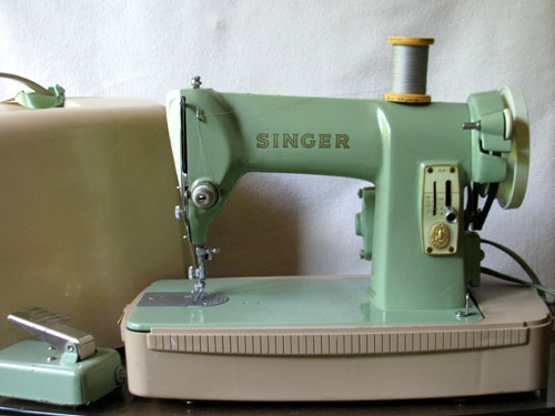 This Singer model 185K was made from about 1959-1963 when I was still in school at Hialeah High School. Singer repackaged the tried-and-true Model 99 with a fancy new exterior to its sturdy cast iron body and added a reverse feature. I did not have my own sewing machine at the time, but I would have loved this one even fifty years ago