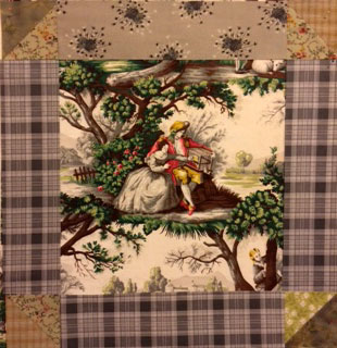 Robin chose this contrasting plaid to frame her tableau.