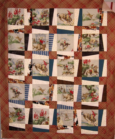 Dianne's 2013 quilt from the Rebel quilt blog--this was her response to the challenge to use a vintage drapery fabric featuring cowboys.