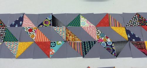 Lila took her inspiration from a project she viewed on Pinterest for this pattern of triangles featuring solids and prints.