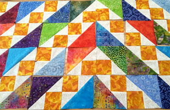 Shadred Nine Patch block by Amy created diamonds of color.
