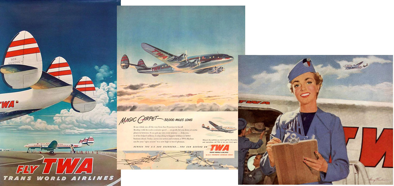 "TWA hostess on Constellation or ""Connie"", circa1950"