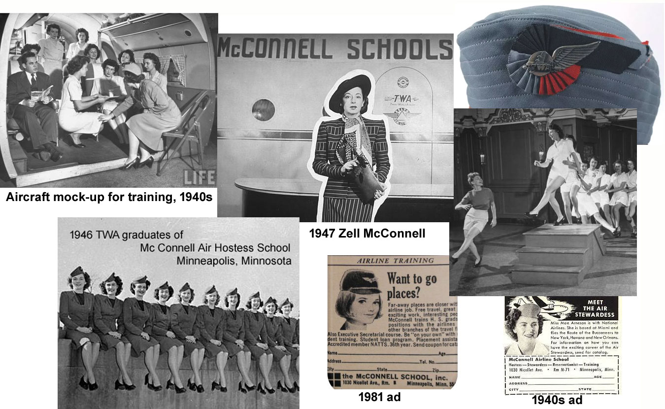 training TWA hostesses at McConnell School 1940s