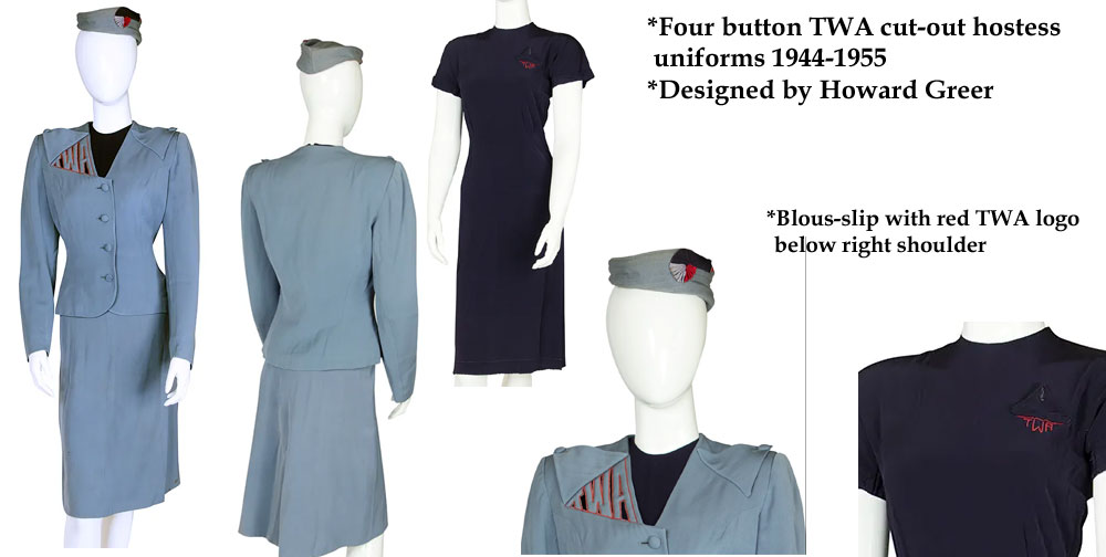 !944-1955 TWA hostess uniforms