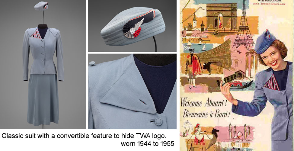 elegant TWA cut-out summer uniform by Howard Greer