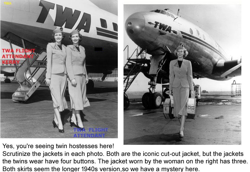 TWA hostess uniforms 1944-1955
