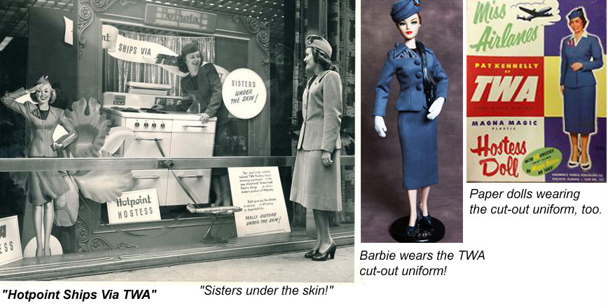 1944-1955 TWA hostess cut-out uniforms