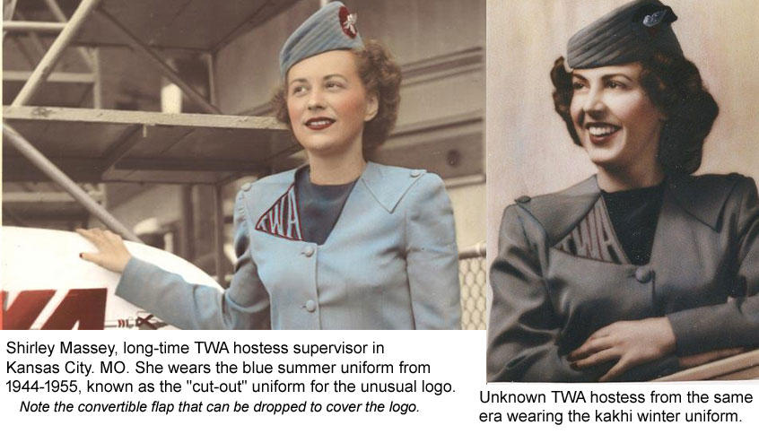 TWA hostess uniforms 1944-1955 cut-out style. both winter & summer