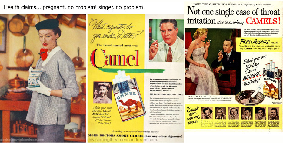 Health claims for smoking in 1940s ads