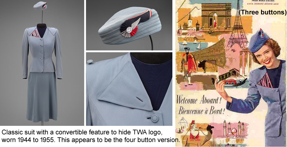 Iconic TWA hostess uniforms TWA 1944-1955