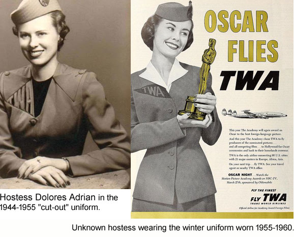 TWA Hostess uniforms 1944-1960