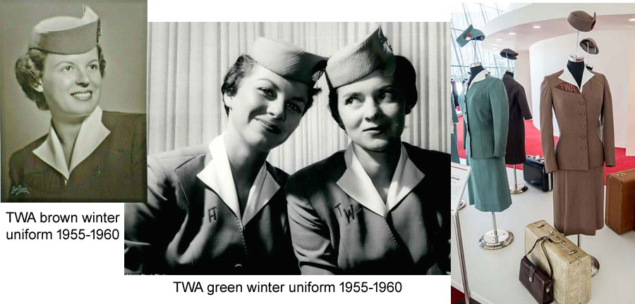 TWA hostess uniforms designed by Oleg Cassini 1955-60