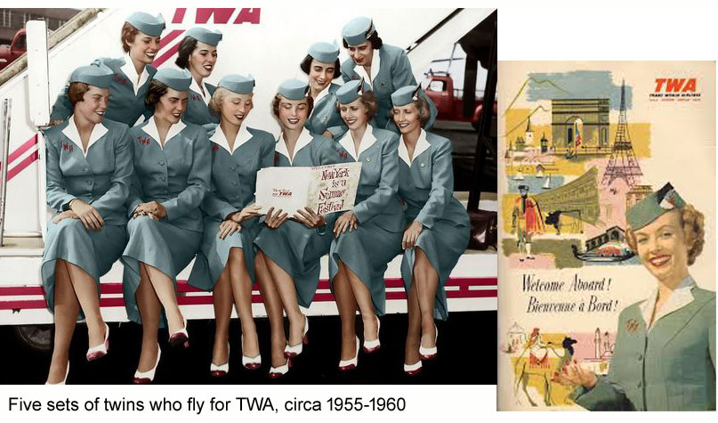 Ten TWA hostesses circa 1955. Each is pictures with her twin sister!