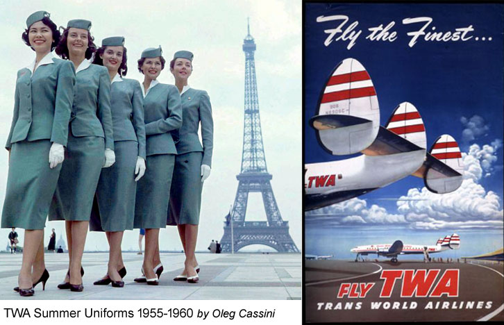 TWA flight hostess uniforms 1955-1960 designed by Oleg Cassini