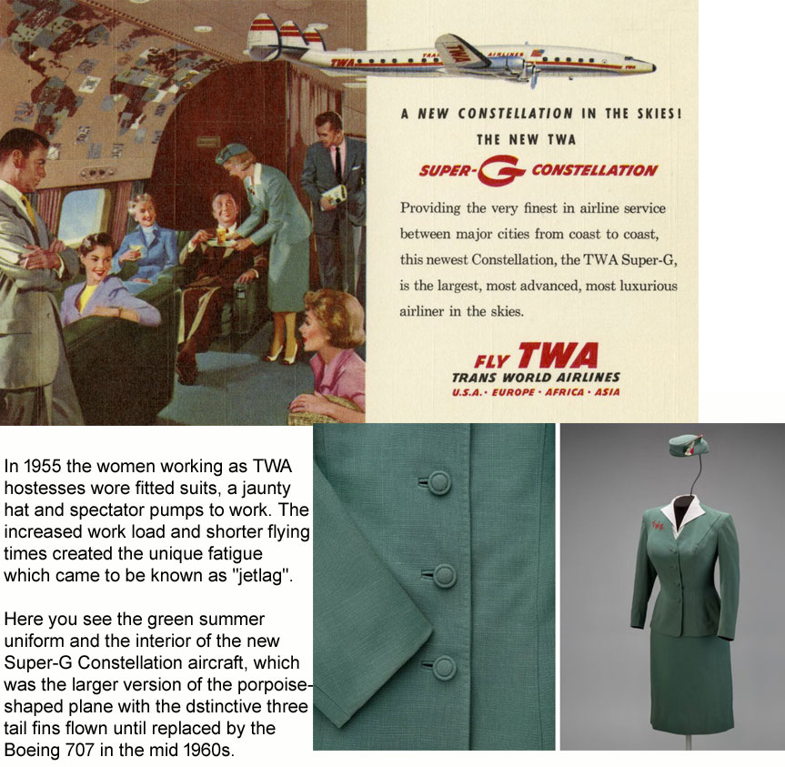 1955-60 TWA hostess uniforms designed by Oleg Cassini