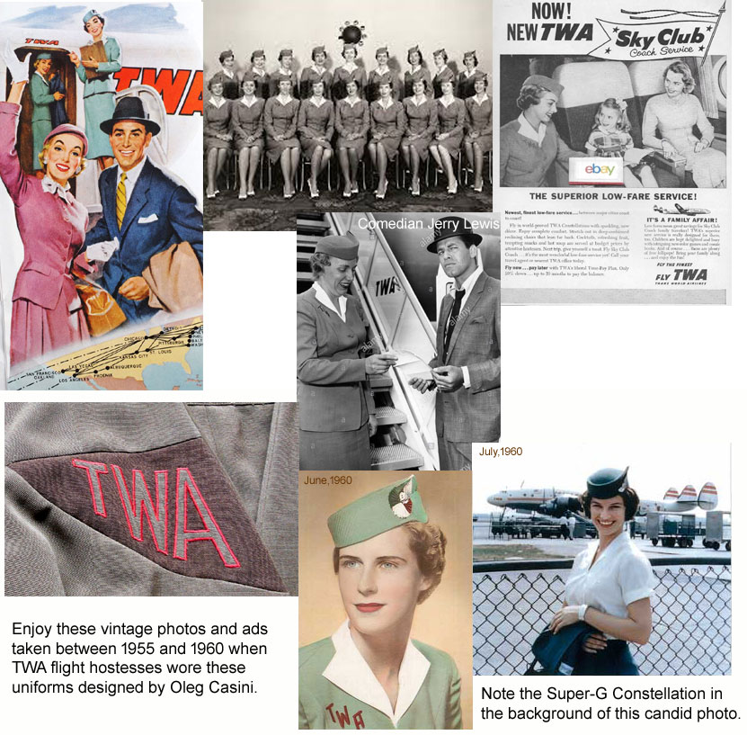 1955-1960 TWA hostess photos and ads